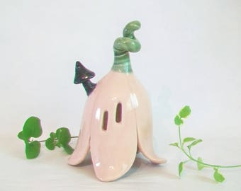 Pink Fairy or Toad Flower House - Handmade, Wheel Thrown - Palest Pink  Flower House with Windows and Chimney -  Ready to Ship Now