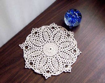 Water Lily Flower Crochet Lace Doily, Textured Table Decor, French Country Decor, Paris Bedroom Table Accent, Ecru, 8 1/2 Inch Doily