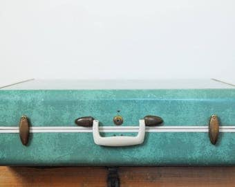Vintage Samsonite Turquoise Suitcase Large 26 Inch Bermuda Green Suit Case Style No. 5136 Marbled Turquoise Luggage Mid Century Travel