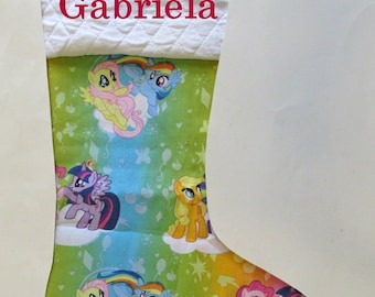 Stocking with name embroidered - My little pony - MLP - Personalized stocking - Gifts for kids - custom order - Holiday gift