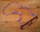 glasses chain, lilac, oya, eyeglass chain, lanyard, needle lace