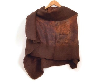 brown felted silk shawl