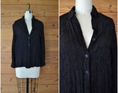 1990s slinky rayon checked top / black geometric button up blouse / small