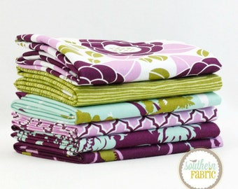 Aviary 2 by Joel Dewberry Lilac -  6 Fat Quarters Quilt Fabric Bundle for Free Spirit