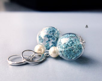 Earrings - blue Queen Anne's lace blossom in a crystal ball
