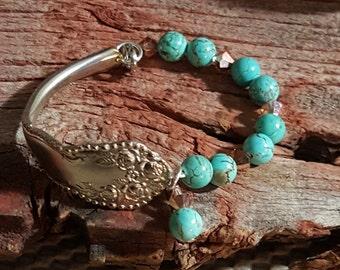 Vintage Silverware Half Handle Bracelet with Stones Spoon Bracelet