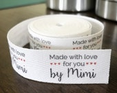 Twill, One Inch Ribbon, Spool - Flat or Folded, CUSTOM Printed Sew-in Fabric Label (natural and white)
