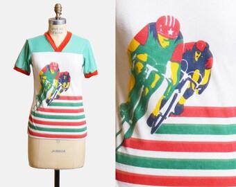 Vintage 70s Bicycle Racing Shirt Sports TShirt / 1970s Retro Bike Graphic Ringer V Neck Tee Striped Screen Print t shirt Small Medium