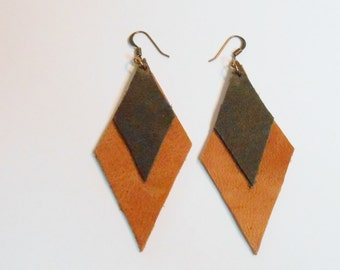 Leather Earrings That Are Diamond Shaped with Drum Dyed Chrome Tan and Copper Ear Wires