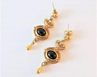40% OFF SALE Vintage AVON Earring Set / Gold and Black Victorian Style Dangly Antiqued Costume Earrings