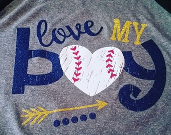 Love my Baseball Boy Shirt, Baseball Shirt, Baseball Mom Shirt, Baseball Mom Tank, Woman's Baseball Shirt, Baseball Mom Gift, Mom Shirt