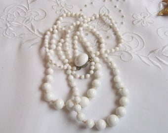 Vintage Double Strand Necklace of Milk Glass Beads