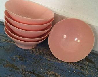 Vintage Lucent Dinnerware, Pink Lucent Bowl, Vintage Pink Bowl, Vintage Melamine, Vintage Pink Plastic Bowl
