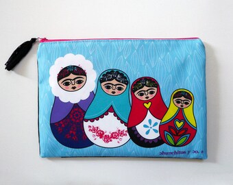 Frida Kahlo, cosmetic bag, makeup bag, pencil case, matryoshka, frida kahlo purse, frida kahlo bag, frida kahlo art, frida kahlo portrait