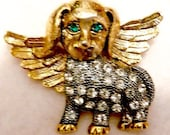 Cute Rhinestone Angel Dog Brooch Jewelry Pin
