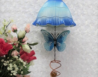 Repurposed Blue Butterfly Patio Art, Upcycled Light Shade Hanging Decor, Metal Butterfly, Swirl, Stone, Recycled