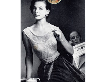 Sleeveless Top for Women Retro Mid Century European 1950s - Vintage Digital Knitting Pattern  - PDF Instant Download - PrettyPatternsPlease