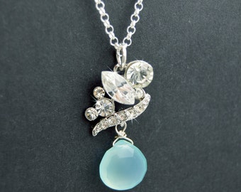 Bridal crystal necklace with Aqua gemstone drop, Something blue, Aqua Chalcedony gemstone necklace, Sterling silver