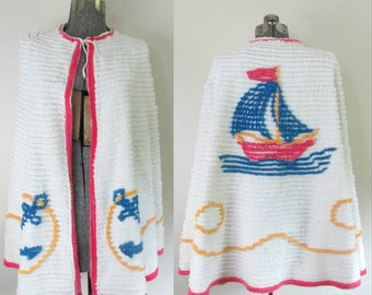 Nautical Chenille Cape Shawl Vintage 1930s 1940s Sailboats and Anchors