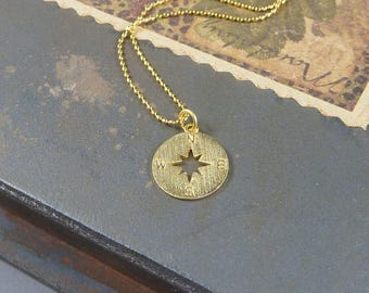 Going Places. Gold Compass Necklace. 16k yellow gold plated. modern. delicate. whimsical. layering necklace.