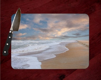 St Augustine Ocean Beach Photo Tempered Glass Cutting Board, Chopping Board, Hot Pad Trivet, Cheese Serving Tray, Art, Florida,