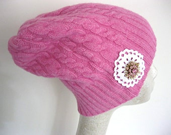 Hot pink slouch beanie, recycled sweater beanie, slouch hat, winter hat, pink knit beanie, pink knit hat, pink beanie, lily whitepad