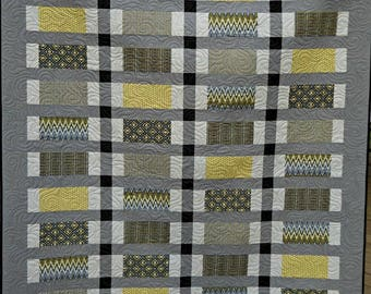 Modern Quilt, Lap Quilt, Gray Quilt, Handmade Quilt, Yellow Quilt, Gifts for him, Guy Quilt