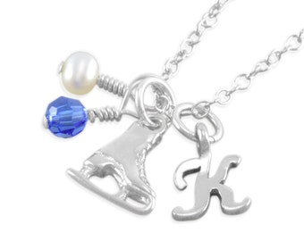 Ice Skate Necklace, Sterling Silver, figure skating necklaces, personalize child, birthstone, frozen, winter, girl kids, initial KATARINA