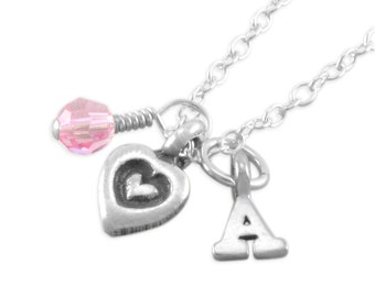 Heart Charm Necklace, Sterling Silver, birthday necklaces, personalized children gifts birthstone monogram stamped girl kids, initial ADELLE