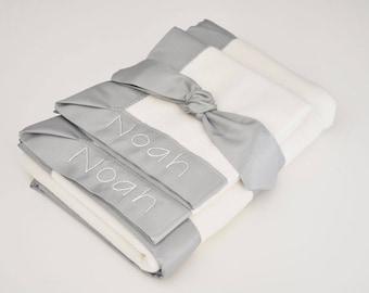 Organic Baby Blanket -- Gray -- Free Personalization