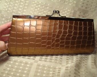 BIJOUX TERNER Copper Gold Faux Alligator Clutch Handbag Shoulder Bag.
