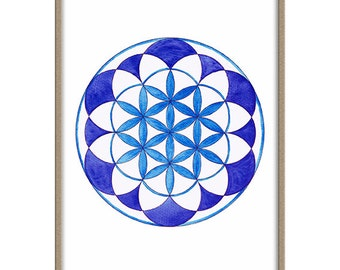 Flower of Life, Watercolor Wall Print, Art Print, Printable Instant Download
