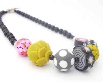 SEASON Polymer Clay Necklace Mustard and Pink Colourful and Original
