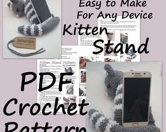 Kitten Device Stand PDF Crochet Pattern