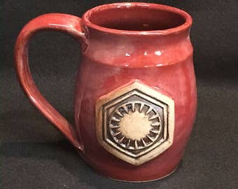 Star Wars The Force Awakens inspired First Order mug, 16 ounces, red glaze.