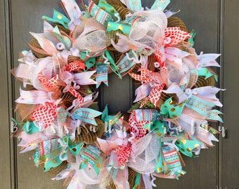 Deco mesh wreath, summer wreath, spring wreath, all season wreath, tribal wreath, polka dot wreath, mint, white wreath, arrows,
