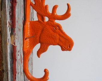 Moose hook Hanger Cast iron hardware Orange antlers  Rustic Lodge cabin wall decor hardware Supplies 9 inch