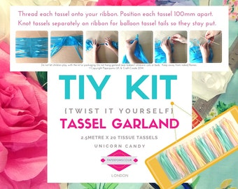 DIY Tassel Garland Kit, DIY Tassel Kit, tassel garlands, parties, shop display, photo shoot, Unicorn Candy