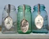 Mason Jar Spoon CUSTOM ORDER Vintage Hand Stamped Spoon , Jar Collector Gift, Mason Jar Decor