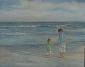 Portrait of Children, 2 Children on beach, Oceanscape, Custom Portrait Backview