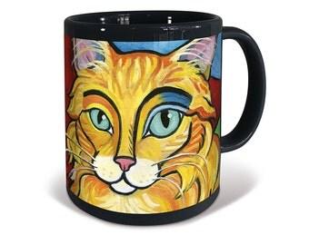 Orange Longhaired Tabby Cat Pawcasso Mug