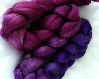 "Hand Dyed Alpaca/Silk 4 Oz. ""Berry Pie Gradient"""
