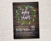 Baby Shower Invitation, Baby Shower Invite, Modern baby shower invitation, baby shower, baby shower invitation: PRINTABLE (Woodsy Wreath)