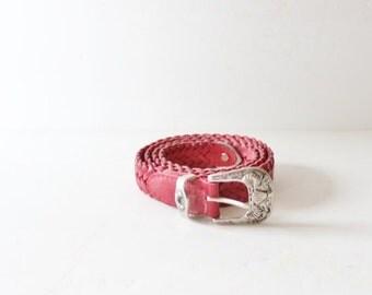 50% half off sale // Vintage 80s Red Milor NAUTICAL Leather Belt - Women S