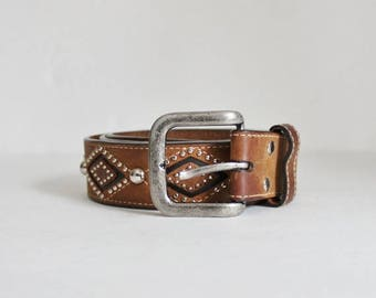 60% off sale // Vintage 90s Nocona Studded Cowboy Western Brown Leather Belt - Size 36 or 38