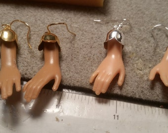 Barbie hand earrings