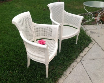Pair of CANE ARM CHAIRS / Barrel Cane Chairs / Pair of Barrel Chairs Hollywood Regency Palm Beach Cottage Style at Retro Daisy Girl