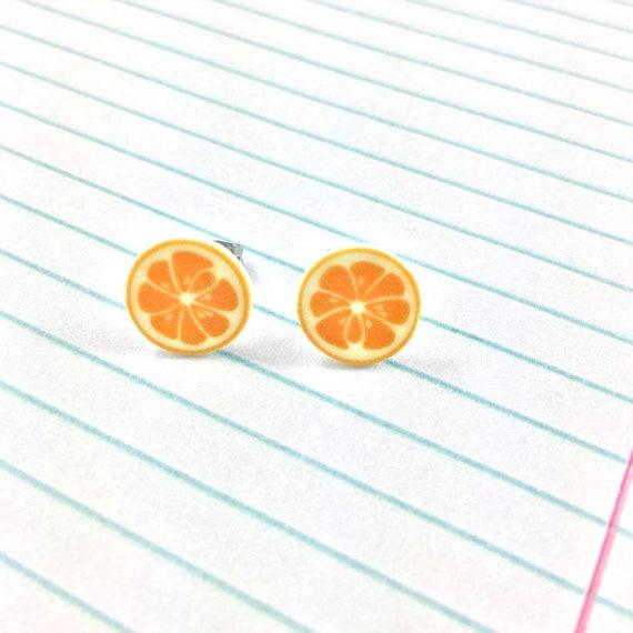 orange, lemon, citrus, earring, summer, print on plastic, stainless stud, handmade, les perles rares