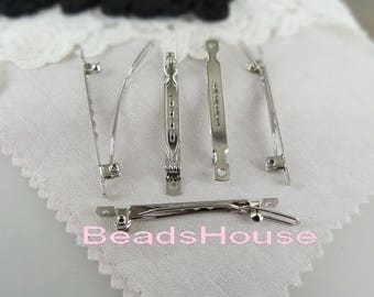 6pcs (5 x 50mm) Silver Plated Hair Clip, Nickel Free