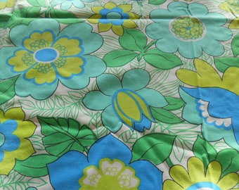 Vintage tablecloth, Large, Flower Power, blues and greens